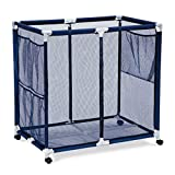 Pool Accessories, Balls and Outdoor Toys Storage Bin - Pool and Ball Storage Organizer with Nylon Mesh Basket | Hold Beach Towels, Linens and floatation Devices