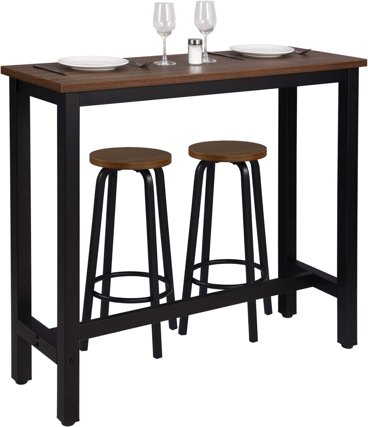 Faggio Scuro BT17dc+BH237dc-2 WOLTU Tavolo da Bar 2 Sgabelli Alti Set Arredo Bancone per Cucina in Acciaio Legno