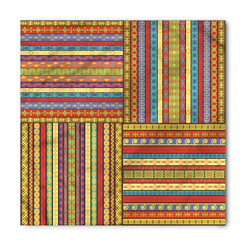 Ambesonne Unisex Bandana, African Ancient Artwork Borders, Yellow Red