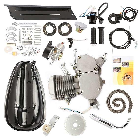 VEVOR Kit de Motor para Bicicleta de Dos Tiempos y 80 cc en Silenciador cromado Gas Motor Bicycle Engine Complete Kit Motorized Bike 2-Stroke (Plata): ...