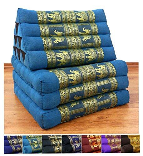 3 Fold Thai Cushion, 67x20x3 inches (LxWxH), Silk Look, 100 % Natural Kapok Filling, Foldable Thai Mat with Triangle Cushion, Headrest, Thai Pillow by Livasia