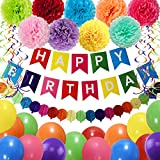 THAWAY Birthday Decorations Party Supplies, Colorful Birthday Decorations, Happy Birthday Banner, Pom Poms Flowers, Garland, Hanging Swirl, Balloons for Kids Birthday Party