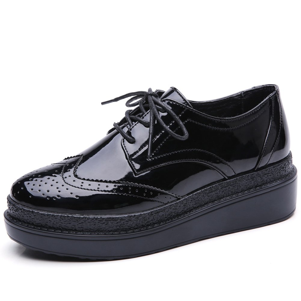 HKR-CBC12heise40 Women Patent PU Leather Platform Wingtip Oxford Shoes Lace Up Wedge Brogues Sneakers Black 8 B(M) US