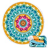 Ricdecor Beach Towel Large Mandala Beach Towel Blanket with Tassels Ultra Soft Super Water Absorbent Multi-Purpose Beach Throw 59 inch across By (NO.37)