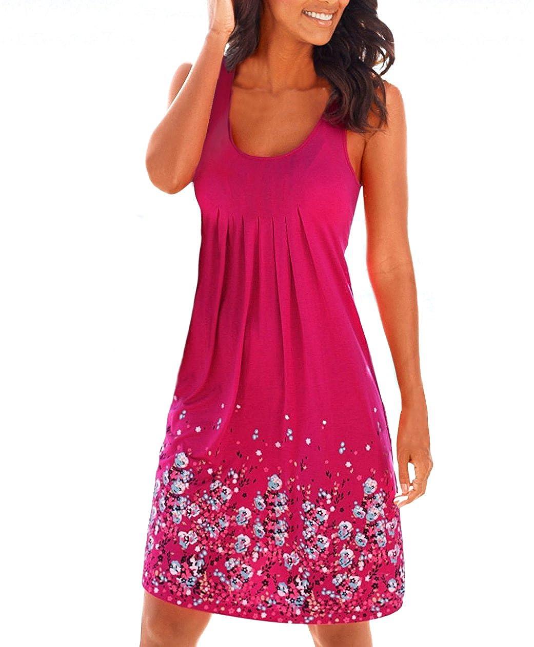 Women's Summer Casual Loose Mini Print Sleeveless Sundress A-Line Beach Dress Yidarton