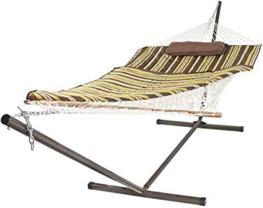 Double Hammock with Space Saving Steel Stand Stripe Lying Bed