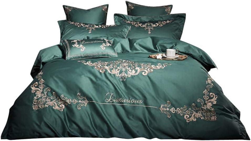 BestBed 寝具100%純粋な綿4つの部分完全なベッドセットは、X1の掛け布団カバーX2ピローケースとX1フィットシートグリーンを含む (Size : 1.5m (5 feet) bed)