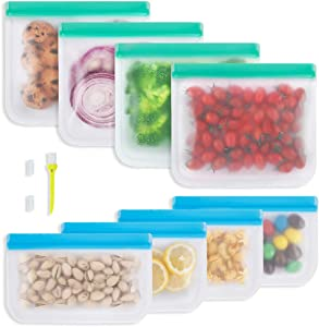 Reusable Food Storage Bags, 8 Pack Reusable Freezer Bags, 4 Leakproof Reusable Sandwich Bags, 4 Reusable Snack Bags, Silicone and Plastic Free Reusable Ziplock Bags for Veggies Fruit Meat Lunch