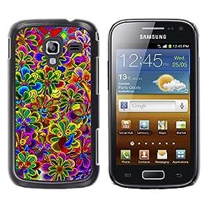 For Samsung Galaxy Ace 2 I8160 / Ace2 II XS7560M Case , Vibrant Spring Violet Yellow Purple - Diseño Patrón Teléfono Caso Cubierta Case Bumper Duro Protección Case Cover Funda