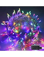 Christmas String Lights, 33FT 100 LEDs Indoor String Lights 8 Flashing Modes and Memory Function with End-to-End Plug, Waterproof Fairy Lights for Bedroom Wall Wedding Party Christmas Decorations - ETL Certified