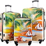 Merax Graphic Print Luggage Set 3 Piece ABS + PC Spinner Travel Suitcase
