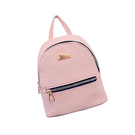 3a5e6ab5de5cf OULII Mini Rucksack Leder mit Reißverschluss Damen modische kleine Daypack  Schultasche Mädchen (Rosa)
