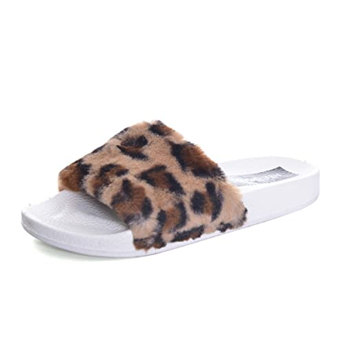 29fac41853480 Fuzzy Fur Slippers for Women Winter Chain Fur Leopard Slides Sandals  Slippers Fashion Women Shoes