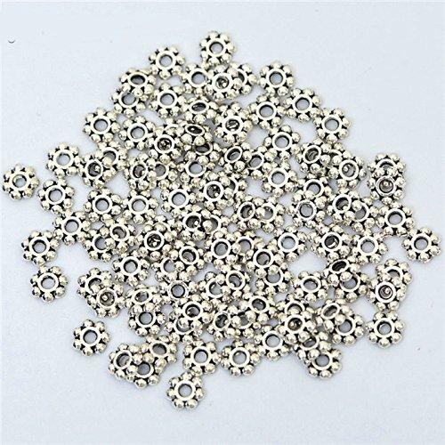 100 Pieces Tibetan Flower Metal Spacer Beads Jewelry Findings Making - Metal Spacer Beads - Jewelry Making Beads - Beads for Jewelry Making (ANTIQUE (Bali Daisy Strand)