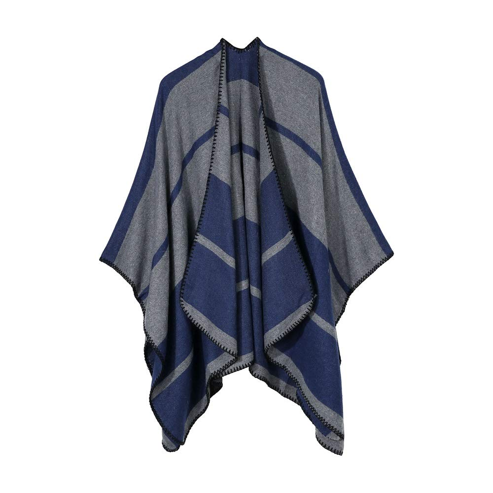 Excellent Women's Fall Winter Scarf Cloak Tassel Cape Mantle Scarf Strong Cushy Kerchief Wrap Shawl Scarves (Color : Blue, Size : 51.1 x 59.06 Inch')