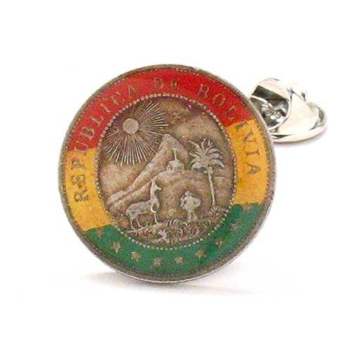 Bolivia Coin Tie Tack Lapel Pin Suit Flag La Paz Santa Cruz El Alto