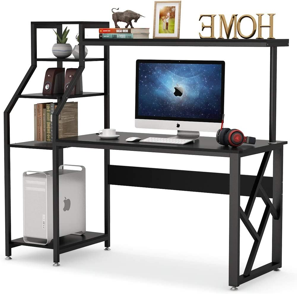 Tribesigns Home Office Computer Desk with Hutch Storage Shelves, 60 inch Large Computer Table Studying Writing Desk with 4-Tier Bookshelf and Tower Storage, Workstation for Space Saving (Black)