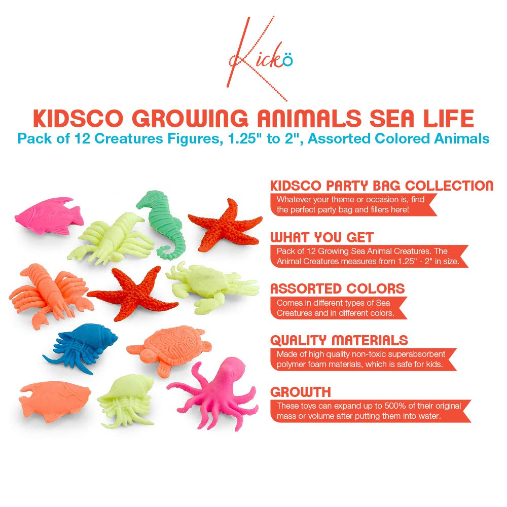 Kidsco Growing Animals Sea Life - Pack of 12 Creatures Figures, 1.25'' to 2'', Assorted Colored Animals - Grows Like Magic in Water - Fun Toy for Kids Boys and Girls, Party Favor, Gift, Prize by Kidsco (Image #4)