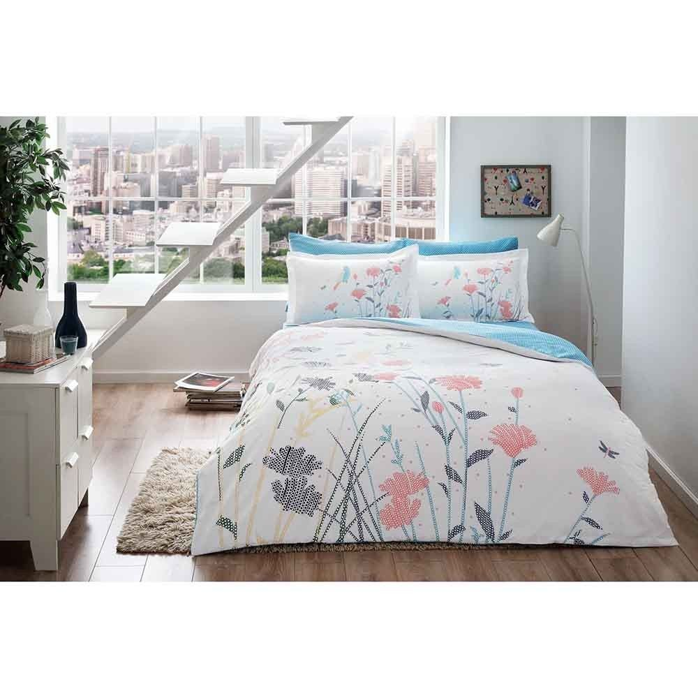 TAC Night glowing phosphorescent fabric Talia Red White Full / Double 4 Pieces Bedding Set, 100 % Cotton Sateen Floral Quilt / Duvet Cover Set with Duvet Cover, Flat Sheet and 2 Pillowcases
