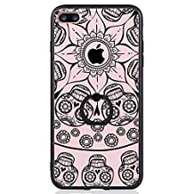 iPhone 7 Plus Case, SwiftBox Clear Black Design Built-in Ring Kickstand Coated Premium Non Slip Surface Case for iPhone 7 Plus with Tempered Glass Screen Protector (Skull)
