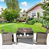 Cloud Mountain 4 Piece Rattan Furniture Set Patio Conversation Set Sectional Wicker Rattan Furniture Outdoor Garden Lawn Sofa Cushioned Set, Mix Gray with Black Cushions