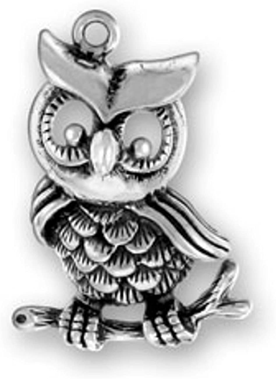 Sterling Silver 3D Perched Owl Bird Bird Dangle Charm Bead For Bead Charm Bracelet With Head Turned