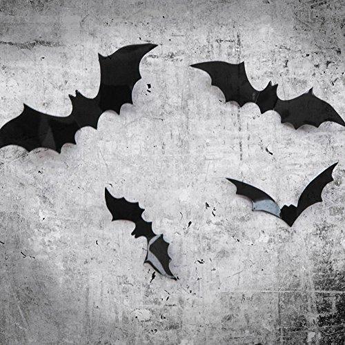 TOAOB 12 Pcs 3D Removable Diy Black Horrible Bat Wall Decals Stickers Murals Home Art Decor for Kids Bedroom Halloween Wall Decorations