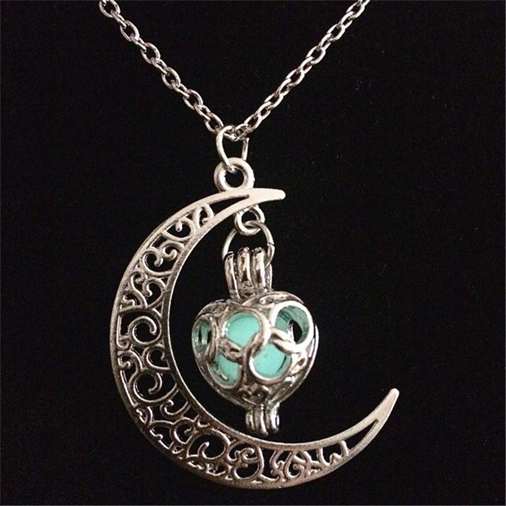 MOONQING Openwork Moon Pendant Necklace Night Light Stone Pendant Necklace,Blue-Green