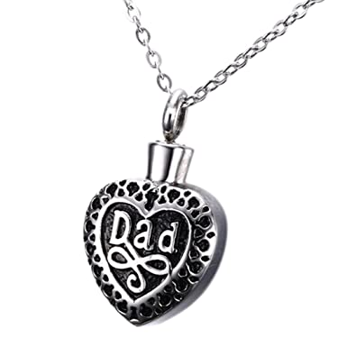 Cremation ashes jewellery dad heart shape pendant necklace cremation ashes jewellery dad heart shape pendant necklace memorial keepsake urns mozeypictures Choice Image