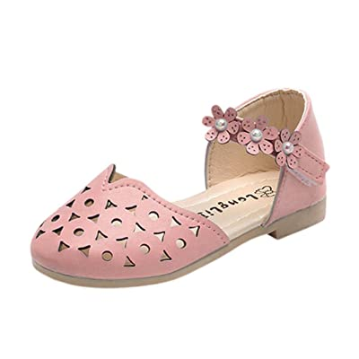 Liu Nian Baby Girls Sandals Cute Floral Leather Princess Shoes