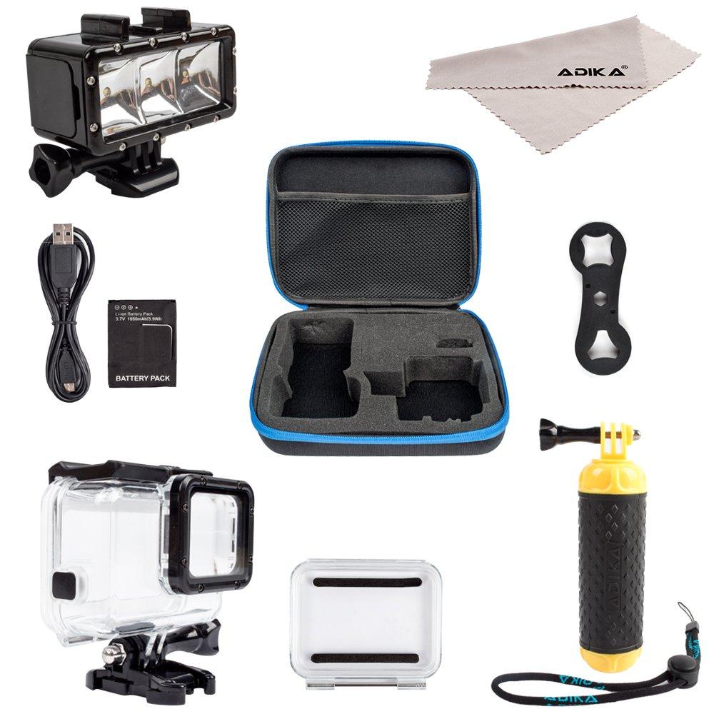 ADIKA Underwater Dive Kit for GoPro Hero 5 Hero 6 (30m Waterproof Scuba LED Lights Lighting + GoPro Floating Handle Hand Grip Monopod + 40m Clear for GoPro Waterproof Case for Hero 5 6 Housing) By