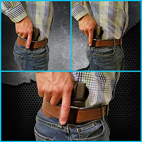 IWB Gun Holster by Houston - ECO Leather Concealed Carry Soft Material |  FITS Glock 17/21, H &K,Beretta 92 FS,XDM,Ruger 45 BERSA PRO,PX4,FNX 45,FNH