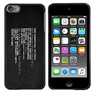 "For Apple iPod Touch 6 6th Touch6 , S-type Correr riesgos vivir Regret Life Nada"" - Arte & diseño plástico duro Fundas Cover Cubre Hard Case Cover"