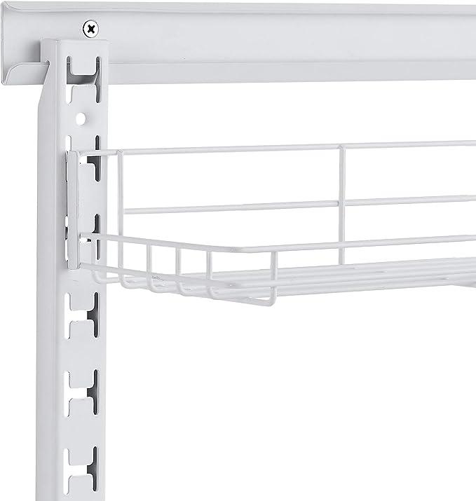AmazonBasics - Estantería de pared ajustable con riel de malla de hierro, dos alturas, con cesta: Amazon.es: Hogar