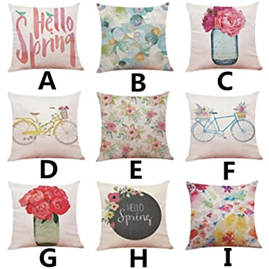 TiTCool 2018 Cushion Cover Hello Spring Home Decor Throw Pillowcase Pillow  Covers 18x18 (A)
