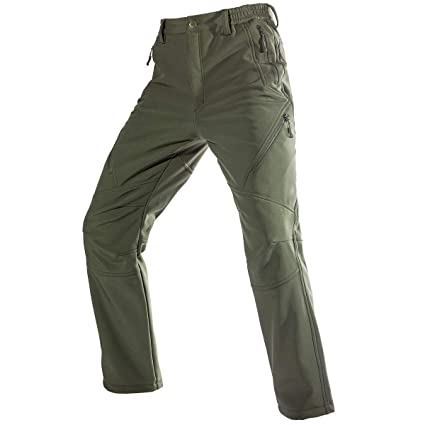 97cc0f7c09 FREE SOLDIER Men s Fleece Lined Water Repellent Softshell Snow Ski Pants  with Zipper Pockets(Green