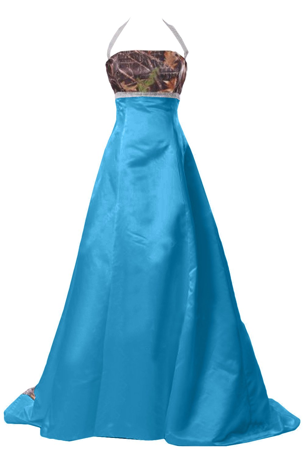DINGZAN Halter Satin and Camo Wedding Bridal Dresses Long Prom Gowns ...