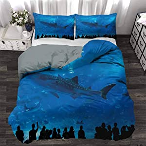 HouseLookHome Duvet Cover Set Quilt Cover Shark Modern Simple Style Bedding Set Aquarium Park and People for Luxury Guest Room Decor Decorative 3 Piece Bedding Set with 2 Pillow Shams, King Size