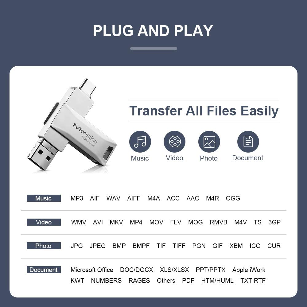 Not for iPhone LG Google Pixel 64GB USB C Type C Flash Drive Micro USB 3 in 1 High Speed Waterproof Shockproof with Portable Key Ring for Samsung Galaxy MacBook Laptop USB Flash Drive Huawei