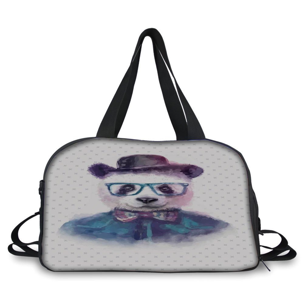 iPrint Travel handbag,Funny,Vintage Hipster Panda with Bow Tie Dickie Hat Horn Rimmed Glasses Watercolor Style,Black Blue ,Personalized
