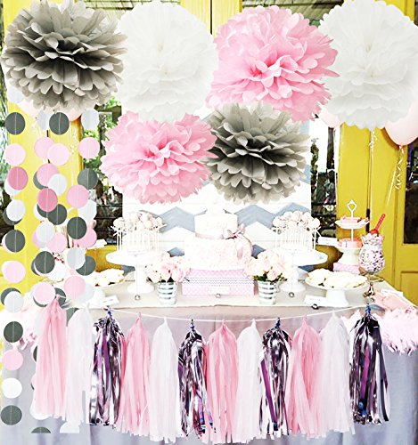 First Birthday Decorations Girl Baby Pink Grey Baby Girl Baby Shower/Party Decorations Tissue Paper Pom Pom Tassel Garland Circle Paper Garland Elephant Baby Shower Decorations by Qian's Party