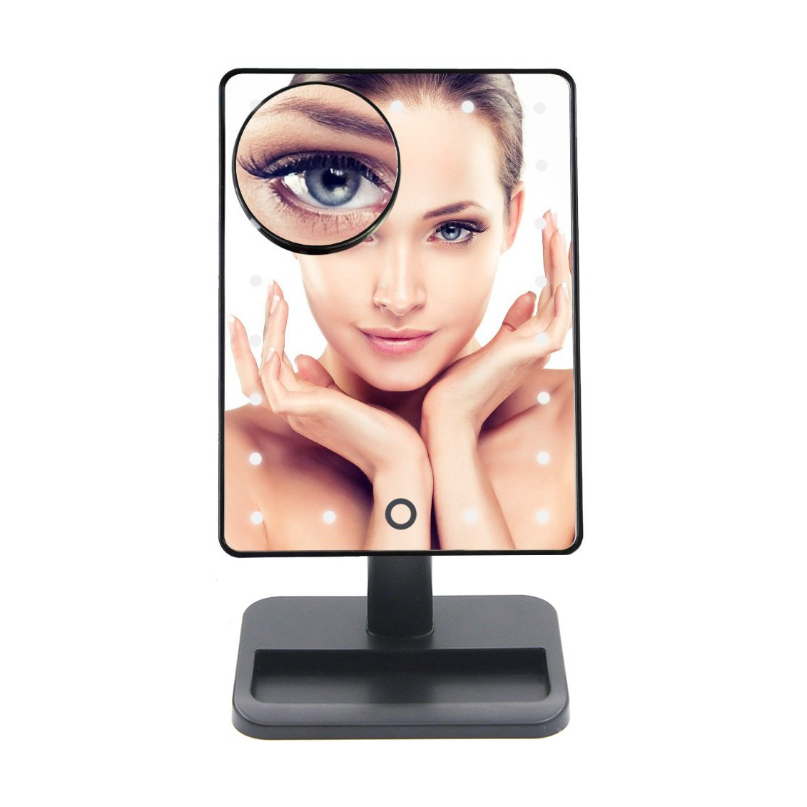 Lighted Makeup Mirror, Vanity Mirror with 20 LED Light And Removable 10X Magnification Spot Mirror.(4 x AA Battery Included) (black)