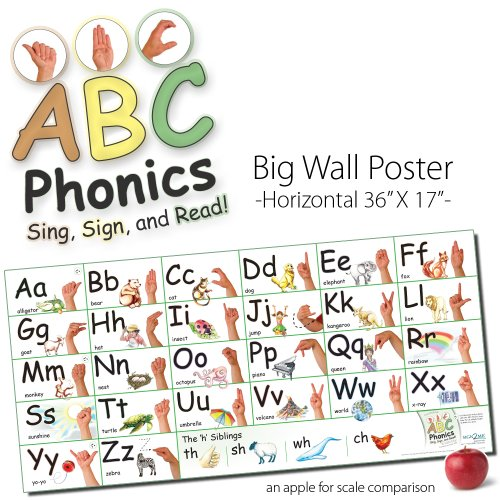 ABC Phonics: Sing, Sign, and Read! - Big ASL Horizontal Wall Poster - 17 by 36 inches Tall - Laminated by Sign2me