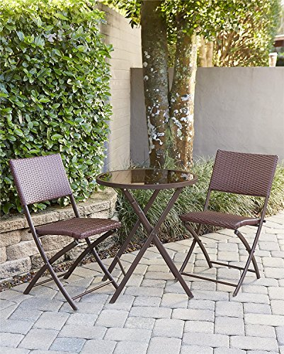 Cosco Outdoor Bistro Set, 3 Piece, Dark Brown and Red Wicker