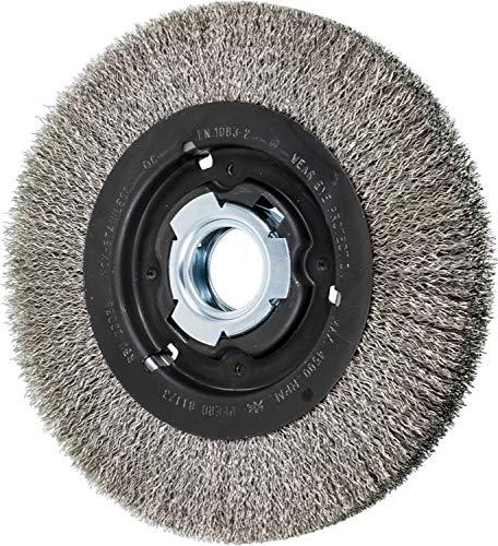 PFERD 81173 Medium Face Crimped Wheel Brush, Stainless Steel Wire, 8'' Diameter, 2'' Arbor Hole, 0.014 Wire Size, 1-1/2'' Trim Length, 1'' Face Width, 4500 Maximum RPM