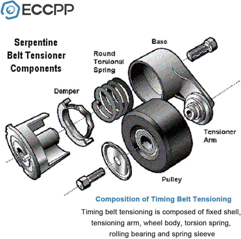 ECCPP 038903315C Serpentine Belt Tensioner with Pulley Fit for 1998-2004 Volkswagen Beetle