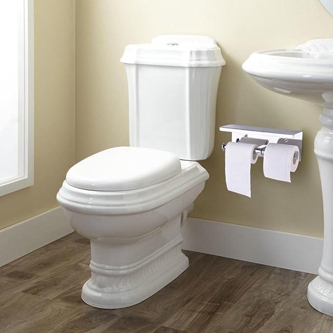 Zerone - Portarrollos de Papel higiénico Doble, Acero Inoxidable SUS304, Soporte para Rollo de Papel de Seda Doble para baño con Estante de Almacenamiento ...