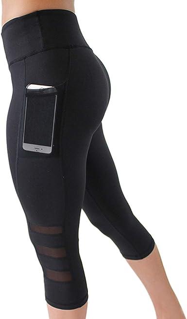 WSLCN Femme Legging de Sport 34 Taille Haute Yoga Gym Fitness Running Jogging Pants Slim Pantacourt Pantalon Moulant avec Poches Tulle