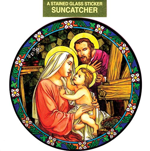 Holy Family Window Decal, Reusable Vinyl Suncatcher, Stained Glass Design