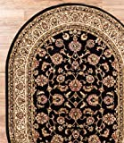 Antique Classic Black 5'3'' x 6'10'' OVAL Area Rug Oriental Floral Motif Detailed Classic Pattern Persian Living Dining Room Bedroom Hallway Office Carpet Easy Clean Rug Traditional Soft Plush Quality